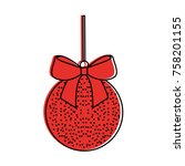 christmas ball with bow ribbon... | Shutterstock .eps vector #758201155