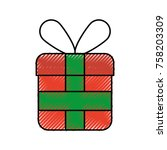 christmas gift box wrapped... | Shutterstock .eps vector #758203309