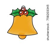 christmas bell holly berry... | Shutterstock .eps vector #758203345