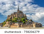 saint michael's mount is an... | Shutterstock . vector #758206279