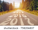 empty asphalt road and new year ... | Shutterstock . vector #758206837