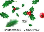 realistic holly  ilex with... | Shutterstock .eps vector #758206969