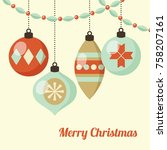 retro christmas card with... | Shutterstock .eps vector #758207161