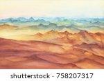 mountain landscape peaks on... | Shutterstock . vector #758207317