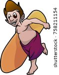 boy carrying surfboard | Shutterstock .eps vector #758211154