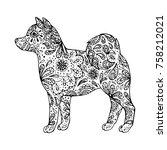 hand drawn zentangle inspired...   Shutterstock .eps vector #758212021
