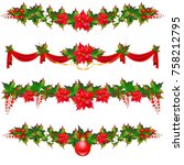 christmas wreath garland  balls ... | Shutterstock . vector #758212795