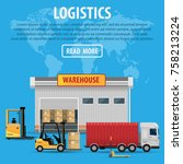the concept of a logistics... | Shutterstock .eps vector #758213224