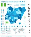 nigeria infographic map and... | Shutterstock .eps vector #758213515