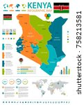 kenya infographic map and flag  ... | Shutterstock .eps vector #758213581