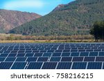 solar panels with blue sky and... | Shutterstock . vector #758216215