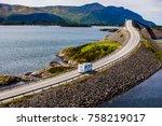 caravan car rv travels on the... | Shutterstock . vector #758219017