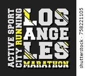 t shirt print design. los... | Shutterstock .eps vector #758221105