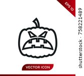 halloween pumpkin icon. holiday ... | Shutterstock .eps vector #758221489