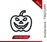 halloween pumpkin icon. holiday ... | Shutterstock .eps vector #758221495
