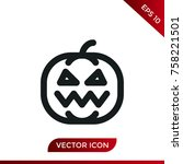 halloween pumpkin icon. holiday ... | Shutterstock .eps vector #758221501