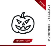 halloween pumpkin icon. holiday ... | Shutterstock .eps vector #758221525