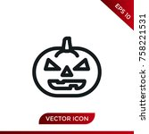 halloween pumpkin icon. holiday ... | Shutterstock .eps vector #758221531