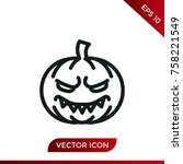 halloween pumpkin icon. holiday ... | Shutterstock .eps vector #758221549