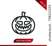halloween pumpkin icon. holiday ... | Shutterstock .eps vector #758221555