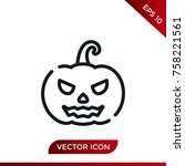 halloween pumpkin icon. holiday ... | Shutterstock .eps vector #758221561