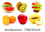 collection of half cut and... | Shutterstock . vector #758233141