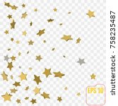 shimmering stars confetti on... | Shutterstock .eps vector #758235487