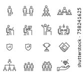 People Icons Line Work Group...