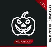 halloween pumpkin icon. holiday ... | Shutterstock .eps vector #758245111