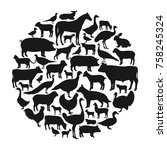 vector farm animals silhouettes ... | Shutterstock .eps vector #758245324