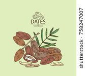 background with date fruit ... | Shutterstock .eps vector #758247007