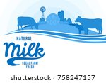vector milk illustration with... | Shutterstock .eps vector #758247157