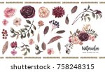 Stock photo watercolor floral illustration set diy elements perfect for flower bouquets wreaths 758248315