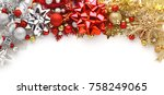 christmas bows  ornaments  and... | Shutterstock . vector #758249065