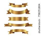 set of golden ribbons vector. | Shutterstock .eps vector #758251804