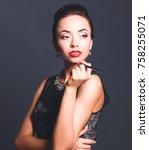 portrait of young beautiful...   Shutterstock . vector #758255071