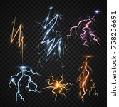 lightning bolt storm strike... | Shutterstock .eps vector #758256691