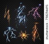 lightning bolt storm strike... | Shutterstock .eps vector #758256691