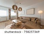 living room interior | Shutterstock . vector #758257369