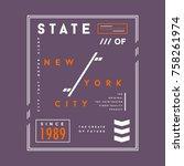 new york city typography tee...   Shutterstock .eps vector #758261974