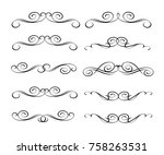 set of decorative design... | Shutterstock .eps vector #758263531