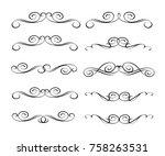 set of decorative design... | Shutterstock .eps vector #758263531