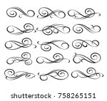 set of decorative elements... | Shutterstock .eps vector #758265151