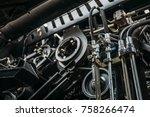harvester engine  gear chains ... | Shutterstock . vector #758266474