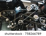 harvester engine  gear chains ... | Shutterstock . vector #758266789