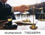 handshake after good... | Shutterstock . vector #758268094