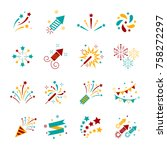 celebration iconic. firework... | Shutterstock .eps vector #758272297