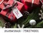 christmas present boxes   Shutterstock . vector #758274001