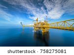 offshore oil and gas rig... | Shutterstock . vector #758275081