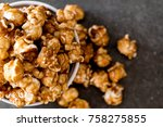 popcorn with caramel in bowl | Shutterstock . vector #758275855